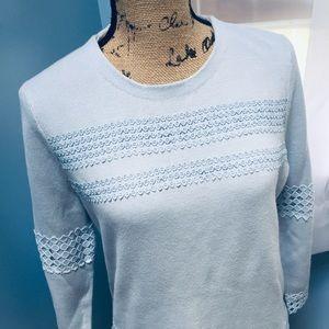 Talbots Powder Blue Eyelet Cotton Sweater